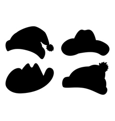 Hats set silhouettes vector