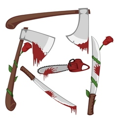 Bloody set of weapons vector image vector image