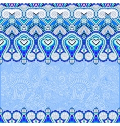 Blue ornamental background with flower ribbon vector
