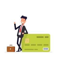 Businessman or manager standing near a big salary vector