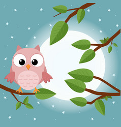 Colorful tree with cute owl cartoon bird in moon vector