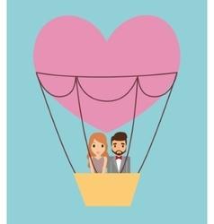 Couple cartoon and hot air balloon design vector