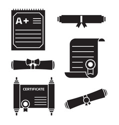 diploma certificate icons vector image