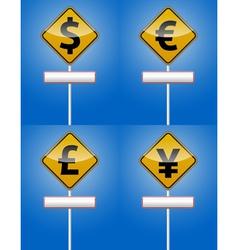 Dollar euro - money traffic board vector