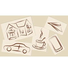 Drawings on paper vector