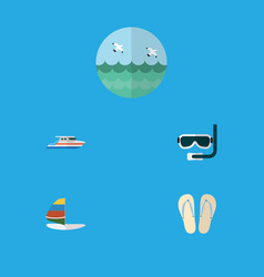 Flat icon summer set of ocean beach sandals vector