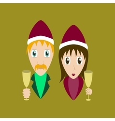 Flat on background of man woman wine vector