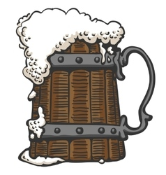 foamy beer in a mug vector image vector image