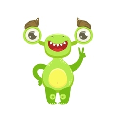 Funny monster smiling and showing peace gesture vector