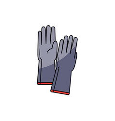 hand drawn pair of grey protective rubber gloves vector image