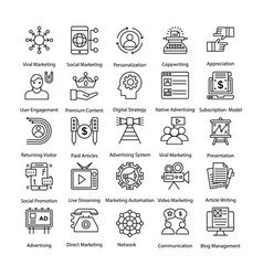 internet and digital marketing line icons vector image vector image