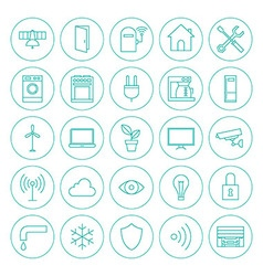 Line circle smart home technology icons set vector