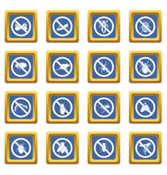 no insect sign icons set blue vector image vector image