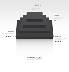 Pyramid cube infographic top view black color vector