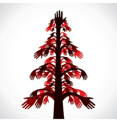 red and brown hand tree vector image vector image