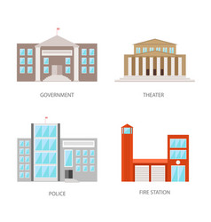 Set of urban buildings in a flat style government vector