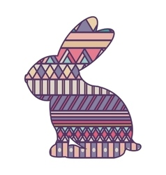 silhouette rabbit easter with decorative texture vector image vector image