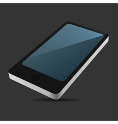 Smartphone 3D View Icon in Flat Style on Dark vector image vector image