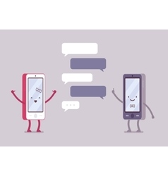 Smartphones boy and girl are charting vector image