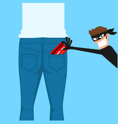 thief pickpocket stealing a credit card from back vector image