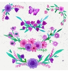 Watercolor flower laurel wreath set with butterfly vector