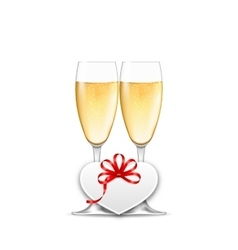 Wineglasses of Champagne and Paper Postcard for vector image