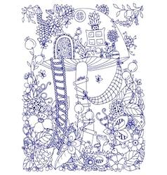 Zen tangle doodle house of vector