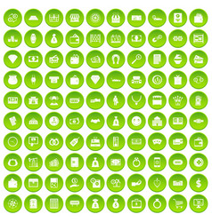 100 money icons set green circle vector image vector image
