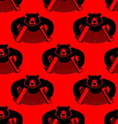 Bear with accordion seamless pattern wild beast vector