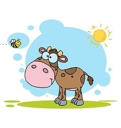 Brown calf watching a bee on a sunny day vector