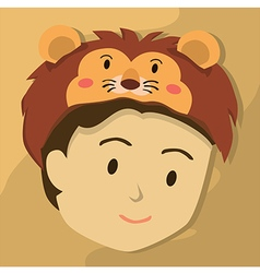 Man with lion hat vector