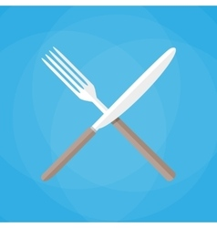 Knife and fork crossed icon vector