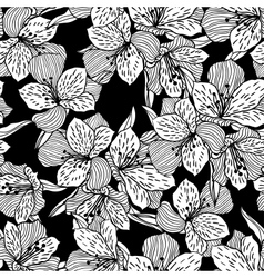 Abstract black seamless flower pattern with orchid vector