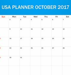 Usa planner blank for october 2017 scheduler vector