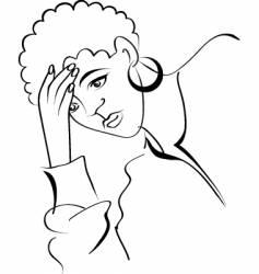 sad woman vector image