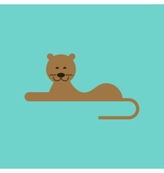 flat icon on background cartoon lioness vector image