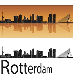 Rotterdam skyline in orange background vector image