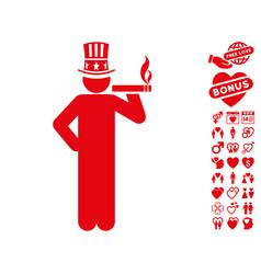 capitalist icon with dating bonus vector image