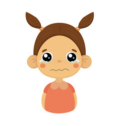 Crying little girl flat cartoon portrait emoji vector