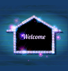 Welcome banner glowing arrow vector