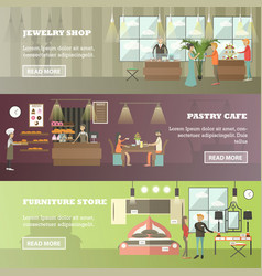 Set of shops horizontal banners in flat vector