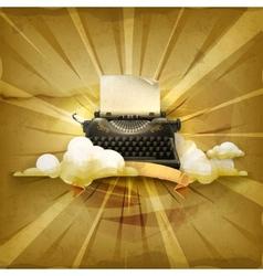 Typewriter old style background vector image