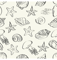 Seamless pattern marine animals contours vector