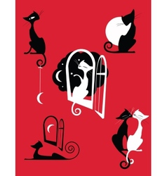 Graceful cats vector