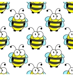 Cartoon bee with tiny wings seamless pattern vector