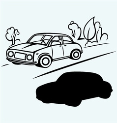 Car goes on the road in the woods vector