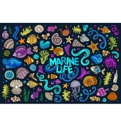 Colorful set of marine life objects vector