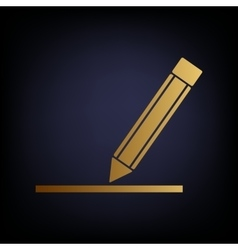 Pencil sign golden style icon vector
