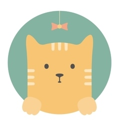 Animal set Portrait in flat graphics - Red cat vector image