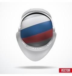 Astronaut helmet with flag russia vector